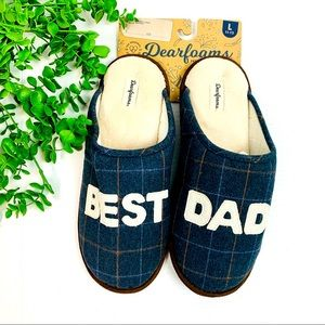 NWT Dearfoams Best Dad Slide On Plaid Slippers L